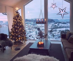 christmas, cottage, and snow image