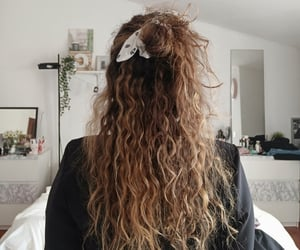 blonde, curls, and hairstyle image