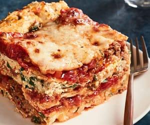 food, pasta, and lasagna image