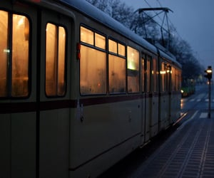 train, light, and night image