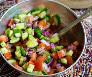 This recipe is easy to follow with only three ingredients, cucumbers, onions and tomatoes.