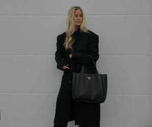 black coat, fashion, and outfit image