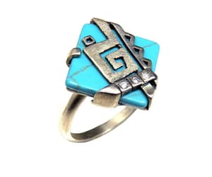 gemstone ring, sterling silver ring, and rhombus turquoise image