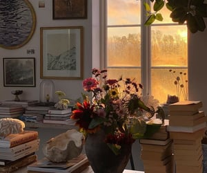 flowers, book, and home image