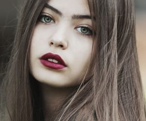beauty, brown haired woman, and brown hair image