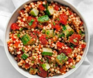 cucumber, couscous, and harissa image