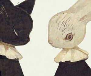 art, bunny, and cat image