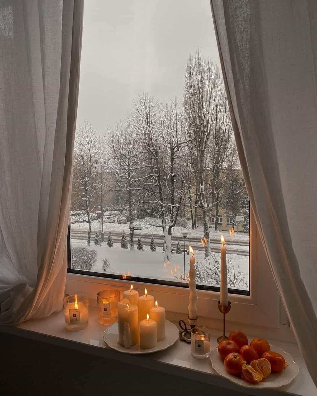 candles, snow, and winter image