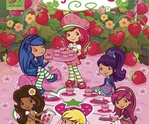 cartoon, strawberry shortcake, and theme image