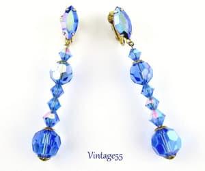 Blue Beaded Rhinestone Earrings Aurora Borealis Drop Clip On image 0