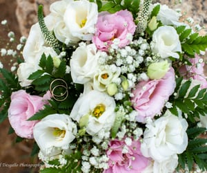 flowers, bouquet, and rings image