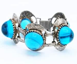 etsy, link bracelet, and blue cabochon image