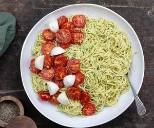 basil, spaghetti, and tomato image