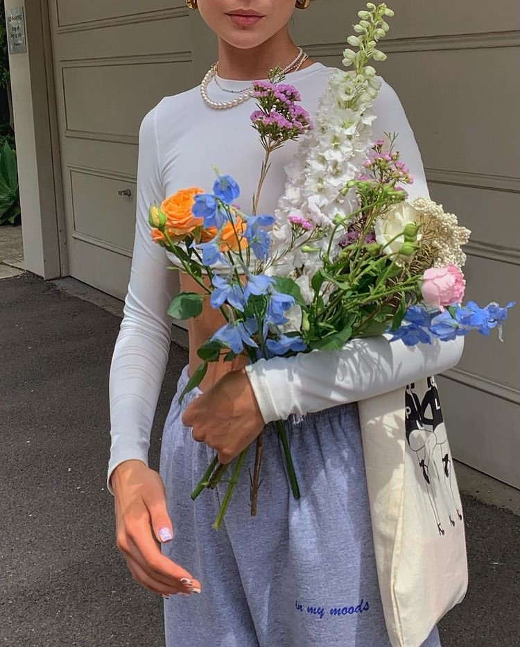 flowers, long sleeve, and everyday look image