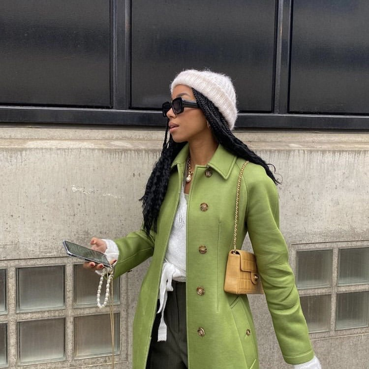 green coat, street style, and everyday look image