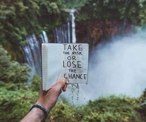 books, waterfall, and forest image