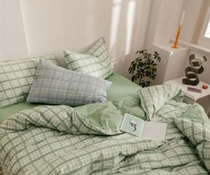 bedroom, decor, and green image