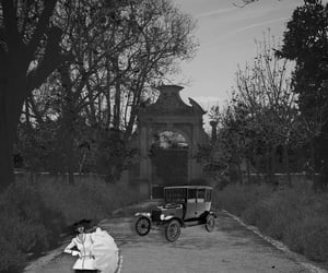 black and white, mansion, and umbrella image