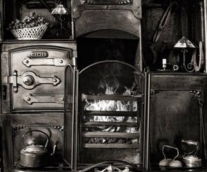 interior, black & white photo, and kitchen image
