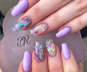 butterflies, nail art, and purple image