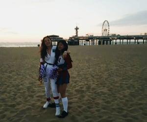 sand, beach, and cheerleader image