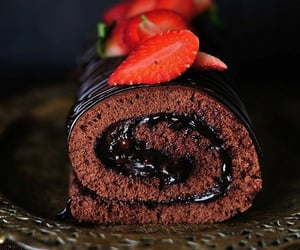 Chocolate cake roll with Strawberry Jam filling