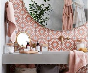 bathroom, design, and pink image