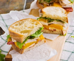 Roast chicken club with peaches, bacon & brie - Nom-Food!