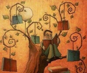 art, reading, and tree image