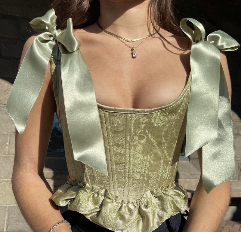 fashion, corset, and green image