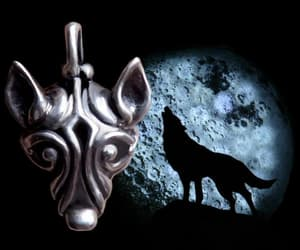 Wolf Head Heavy Sterling Silver Pendant Men's Viking image 0
