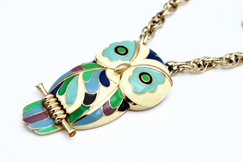 bird necklace, etsy, and vintage jewelry image