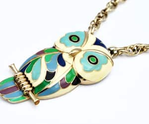 Eisenberg  enamel Owl   necklace  Signed E  Pastel Blue green image 0