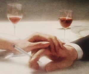 couple, hands, and wine image