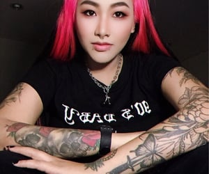 tattoo, hairstyle, and makeup image