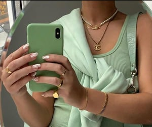 green, aesthetic, and accessories image