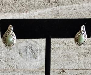 Sterling Silver Marcasite Jade Pierced Earrings Teardrop Stud image 0