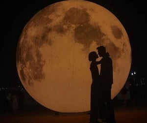 moon, couple, and love image