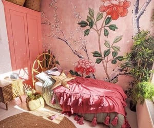 bedroom, cushion, and pink image