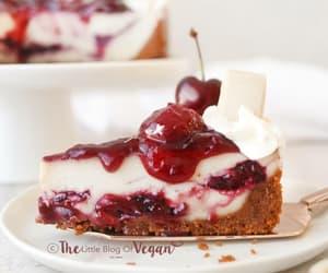 No-Bake White Chocolate & Cherry Cheesecake | The Little Blog Of Vegan