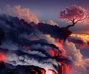 tree, nature, and lava image