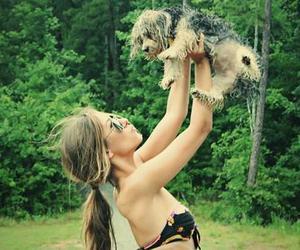 trees, dog, and girl image