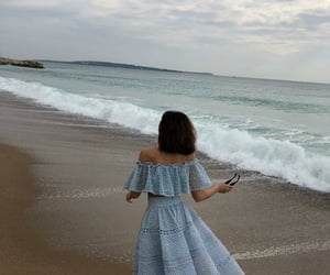 dress, beach, and blue image