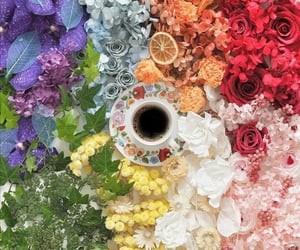 cup of coffee, flowers, and coffee time image
