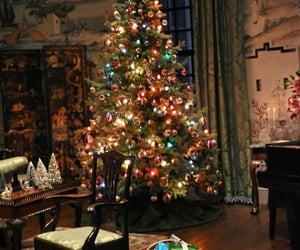 christmas tree, decorations, and house image