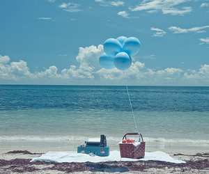 beach, blue, and balloons image
