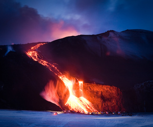volcano, fire, and mountains image