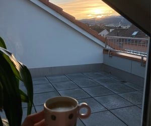 balcony, clouds, and coffee image