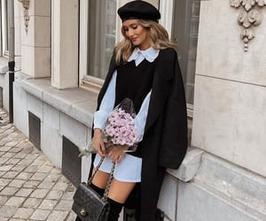 beret, fashion, and flowers image