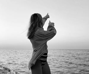 beach, black and white, and fashion image
